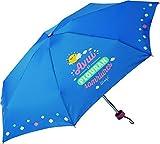 Mr.Wonderful - Paraguas Plegable manual   Paraguas Antiviento Pequeño y Compacto Ideal para Viajes, Mujer - Azul