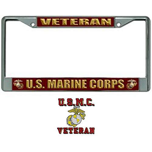 U.S. Marine Corps Veteran License Plate Frame Bundle with USMC Veteran Decal for Marine Veterans