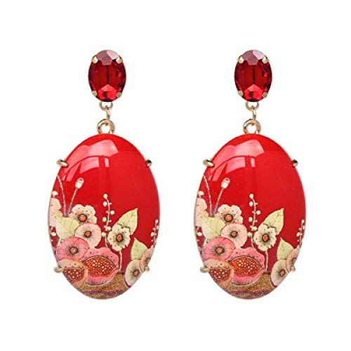 Pendientes largos de resina geométrica para mujer, pendientes colgantes de diamantes de imitación pintados a mano, color rojo