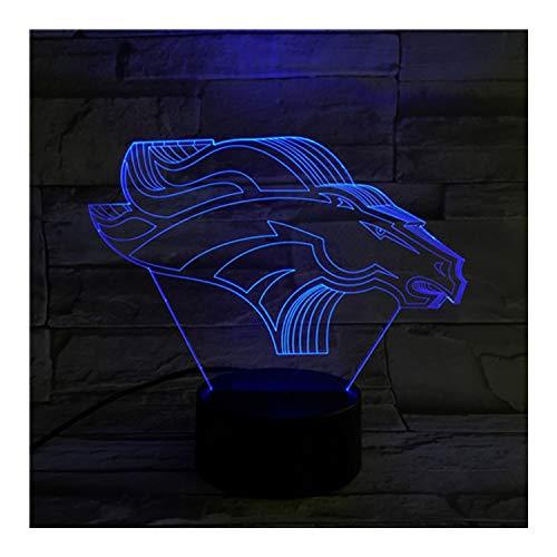 Denver Broncos Light Illusion Lampe Lampe de table de chevet, 7 couleurs changeantes Touch Switch Switch décoration de bureau lampes cadeau d'anniversaire de Noël avec acrylique plat et ABS Base et câ