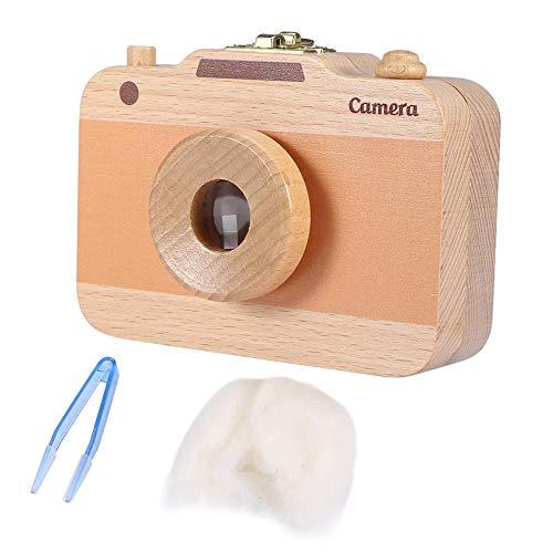 Houten opbergdoos, schattig Camera-patroon Keepsake Save Case voor Baby Melk Tanden en Baby Haar BRON