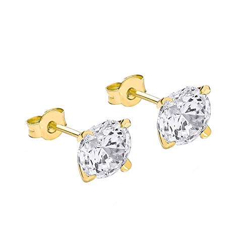 Carissima Gold Women's 9 ct Yellow Gold 8 mm Round Cubic Zirconia Stud Earrings