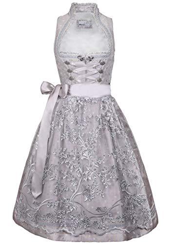 MarJo Trachten Damen Trachten-Mode Midi Dirndl Golda in Silber traditionell, Größe:38, Farbe:Silber