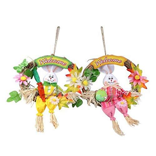 PQZATX 2PCS Straw Wreath Easter Bunny Flowers Wedding Ornament Rustic Home Decor Kids Room Door Decoration Home Pendants