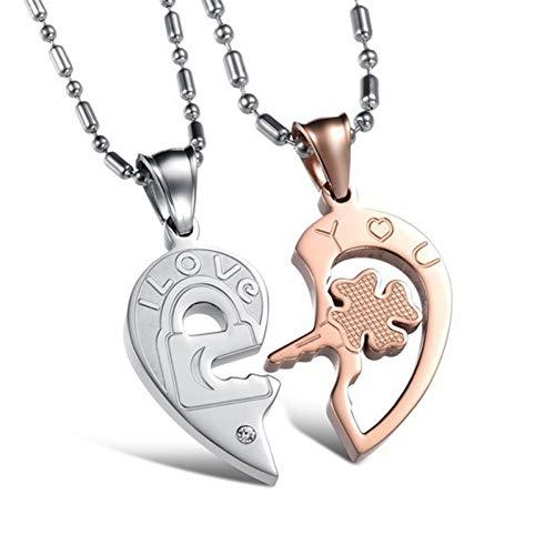 TIGOSM 2 Unids/Set Moda Cerradura Colgante Collar De Pareja Collar De Corazón De Acero Inoxidable para Amantes Regalo