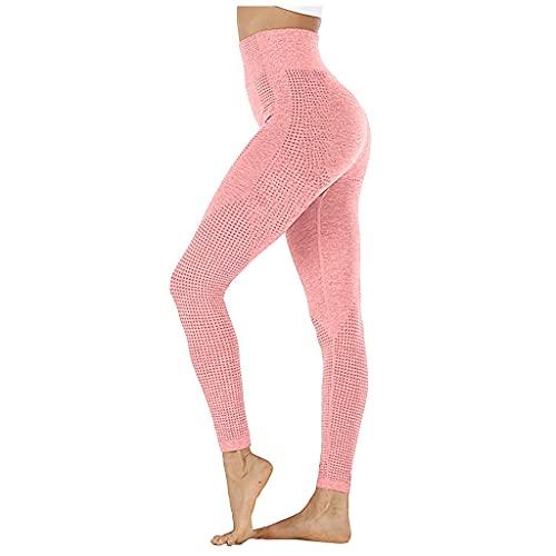 QTJY Pantalones de Yoga elásticos de Abdomen sin Costuras para Mujer, Mallas de Cintura Alta para Ejercicio de Fitness para Correr IM