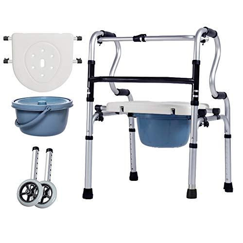 GAOWF Bastone da Passeggio A Quattro Zampe Ausilio per La Deambulazione per Gli Anziani con WC Struttura Multifunzionale in Piedi Sedia Pieghevole WC Casa,Double Bend + PE Seat