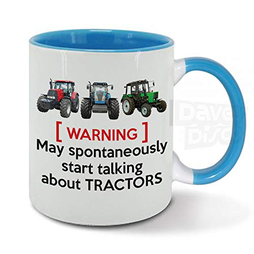 Warning May Spontaneously Start Talking About Tractors, Farmer, Farming, Drive, Driver, Birthday Gift idea, Blue Inside, Ceramic Mug, Cup