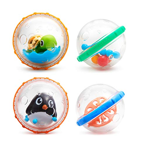 Munchkin - Schwimmende Seifenblasen Badespielzeug, 4er-Pack, Modell Sortiert