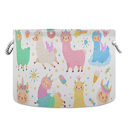 AJINGA Cesta plegable redonda de almacenamiento de tela para juguetes, organizador de cofre de dibujos animados, linda chica llama, unicornio con cordones para niños
