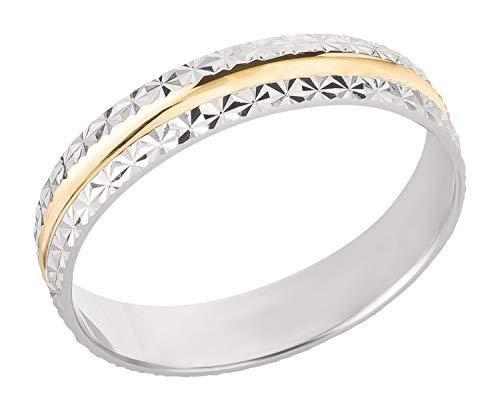 Ardeo Aurum Trauring Unisex Damenring Herrenring aus 375 Gold bicolor Gelbgold Weißgold massiv Ehering Größe 58
