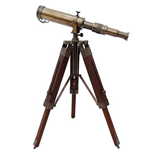 Telescopio de latón macizo pirata del catalejo de madera decorativo s