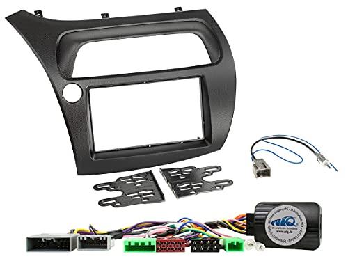 NIQ - Kit di installazione radio con adattatore per telecomando da volante adatto per Honda Civic anno di costruzione 2006 – 2012, doppio DIN, nero