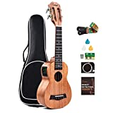 Solid Mahogany Top & Back - Caramel CS419 Soprano Acoustic & Electric Ukulele with Full Set Accessories
