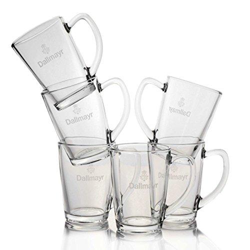 6 x Dallmayr Teeglas 0,3 l Pyramidentee Glas mit Logo Teegläser