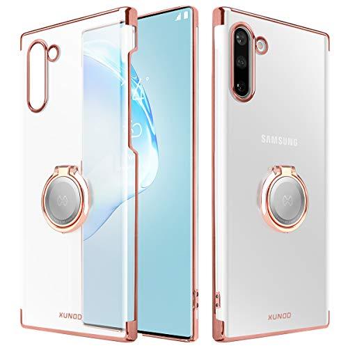 Xundd Galaxy Note 10 Custodia, Cristallo con Anello Magnetico del cavalletto Funzione di 360 °, Magnete Supporto per Auto per Samsung Galaxy Note 10 (Oro Rosa)