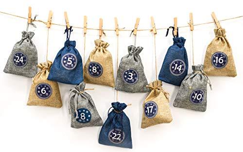 DuneDesign Der PERFEKTE Adventskalender zum Befüllen - 24 Geschenk Säckchen - Komplettes Bastelset