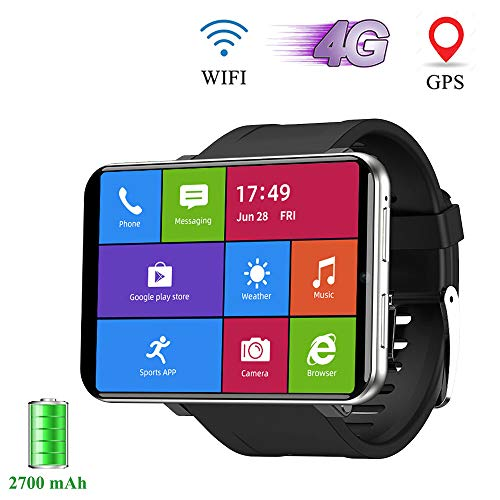 Smartwatch, 2.86 Zoll Herren Uhr mit 2700 mAh Akku SIM Karte und 5.0MP Kamera, Fitness Tracker IP67 Wasserdicht, Sportuhr Unterstützung 4G WIFI GPS für Damen, Google Play Youtube WhatsApp,3+32G,Silber