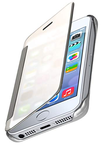 MoEx® Dünne 360° Handyhülle passend für iPhone 5S / 5 / SE (2016)   Transparent bei eingeschaltetem Display - in Hochglanz Klavierlack Optik, Silber