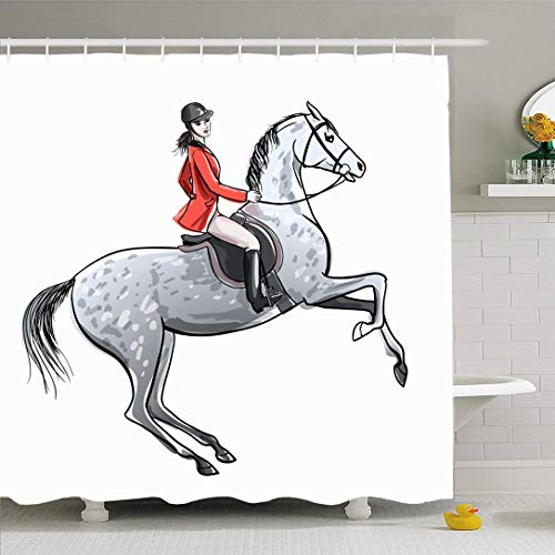 Not Applicable Cortina De Baño Acuarelas Plateadas Tack Beautiful Dapple Tool Ecuestre Grey Competition Horse On Jumping People Decorativo Divertido Impermeable 183X183Cm Cortina De Ducha Hotele
