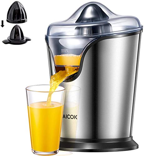 AICOK Electric Citrus Juicers 100 W Electric Orange Juicer Stainless Steel Orange Squeezer, Electric Citrus Juicers with Ultra Quiet Motor, Two Size Cones and Dripless Spout, BPA-Free
