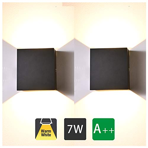 2 Stücke Wandleuchte Innen Schwarz Led modern, 7W Wandbeleuchtung Up Down Aluminium Design, 3000K Warmweiß High Bright Wandlampe für Wohnzimmer, Schlafzimmer, Flur, Balkon, Treppen