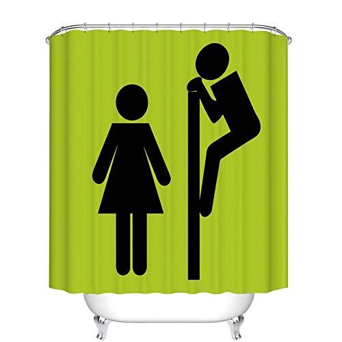 XZLWW Cartoon toilet grappig ontwerp gordijn douchegordijn waterdichte zeep en meeldauw badkamer douchegordijn