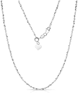 Sterling Silver 1.5MM Fancy Italian Adjustable Diamond Cut Twisted Serpentine Sparkle Chain Necklace- Silver Slider Necklace 4 Colors