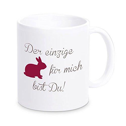 4you Design Tasse Der einzige Hase für Mich bist DU!, Kaffeebecher, Geschenkidee, Ostergeschenk, Valentinstagsgeschenk, Geschenk zu Ostern, zum Valentinstag, zur Osterzeit, für Verliebte (rot)