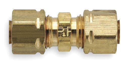 "Parker Hannifin 62CA-6 Brass Union Compress-Align Fitting, 3/8"" Compression Tube x 3/8"" Compression Tube"