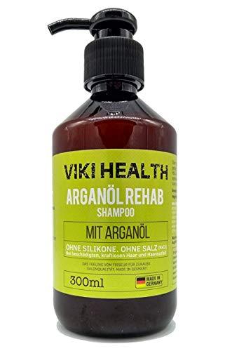 VIKI HEALTH Arganöl Shampoo - ohne Silikone, Salze und Parabene - bei trockenen, beschädigten Haar - für Volumen - mit wertvoller Hydroxycellulose, Deutsches Markenprodukt, silikonfrei