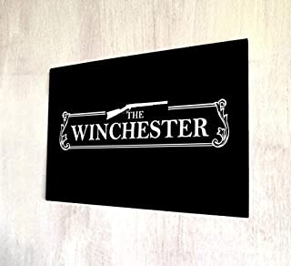 Fabri.YWL The Winchester, Pub Sign Shaun of The Dead Metal Signs Retro Vintage Shabby Metal Wall Plaque Home Decor Wall Art Door Wall Art White