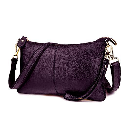 Artwell Genuine Leather Clutch Wallet For Women Wristlet Envelop Crossbody Purse Card Shoulder Bag (Purple)