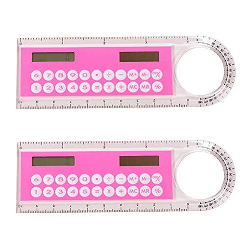 NUOBESTY 2pcs 10cm regla mini calculadora digital 2 en 1 niños escuela oficina papelería regalos (color al azar)
