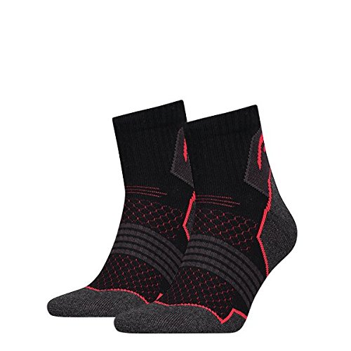 Head Hiking Quarter Socks (2 Pack) Calze da trekking, Nero/Rosso, 35/38 (Pacco da 2) unisex-adult