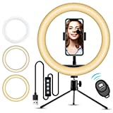 10' Selfie Ring Light with iPhone Tripod Stand & Cell Phone Holder for Live Stream/Makeup, Doosl Mini Led Camera Ringlight for YouTube Video/Photography Compatible with iPhone Xs Max XR Android