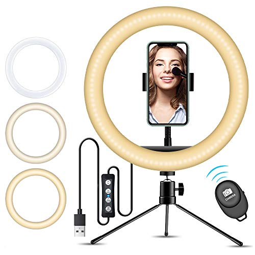 "10"" Selfie Ring Light with iPhone Tripod Stand & Cell Phone Holder for Live Stream/Makeup, Doosl Mini Led Camera Ringlight for YouTube Video/Photography Compatible with iPhone Xs Max XR Android"
