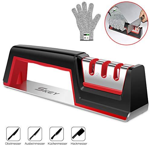 SKEY Messerschärfer, Messerschleifer Knife Sharpener Messerschaerfer mit 3 Stufen Messer Schärfen Enorm Effektiv für Edelstahl und Keramikmesser Aller Größen, Rutschfestem Unterseite
