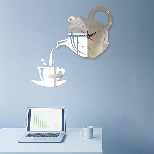 Kreative europäische kaffeekanne wandaufkleber wanduhr home diy3D stereo dekorative uhr acryl digital spiegel wandaufkleber wanduhr,Spiegel Silber
