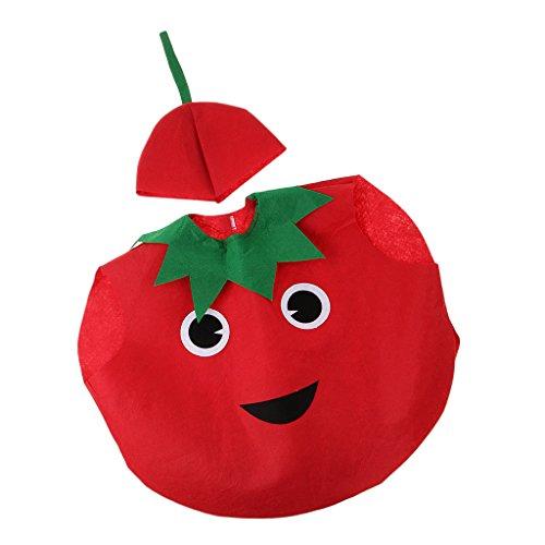 MagiDeal Traje de Tomate Nios Tela Vegetal No Tejida Vestido Disfraz Diversin Celebracin