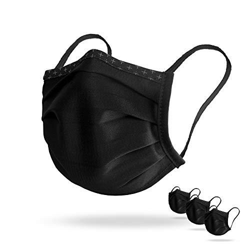 Isko Vital (3x Supreme Gesichtsmasken, Bio-Baumwolle, bis zu 30-mal waschbar (Schwarz, Medium)