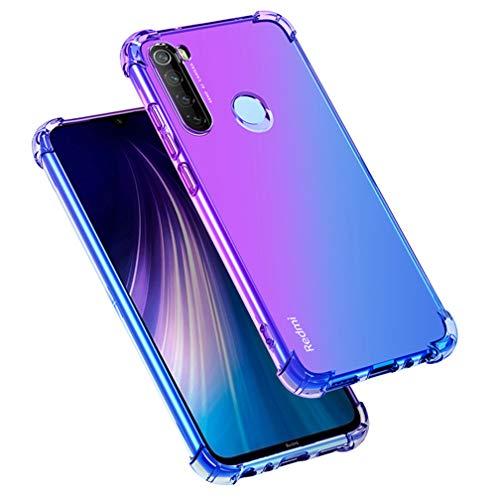 HAOYE Hülle für Xiaomi Redmi Note 8T Hülle, Farbverlauf-TPU Handyhülle, [Vier Ecken Verstärken] Weiche Transparent Silikon Soft TPU Hülle Schock-Absorption Durchsichtig Schutzhülle (Lila/Blau)
