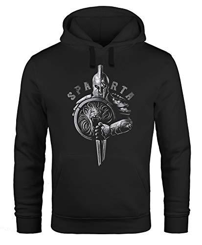 Neverless® Hoodie Herren Aufdruck Sparta Spartanerhelm Krieger Warrior Schwert Schild Löwe Kapuzen-Pullover Männer Fashion Streetstyle schwarz M