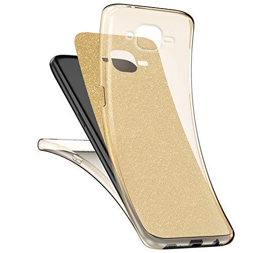 Surakey Cover Compatible con Samsung Galaxy J3 2016 Integrale, Custodia Silicone Trasparente con Brillantini Glitter 360 Gradi Protezione Totale Davanti e Dietro Ultra Sottile Morbida Cover, Oro