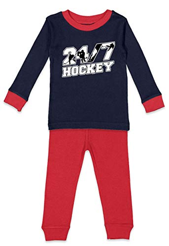 Haase Unlimited 24/7 Hockey Infant/Toddler Pajama Set (Navy Blue & Red Top/Red Bottoms, 5T/6T)