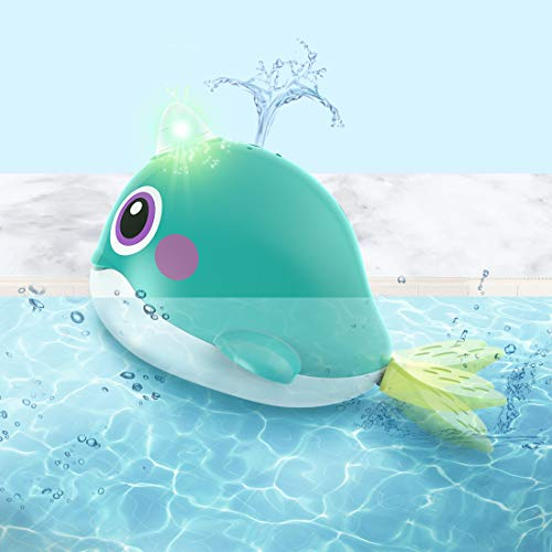 iPlay, iLearn Baby Bath Toys, Kids Automatic Whale Tub Shower Toy W/ Light, Water Spray Bathroom Game, Interactive Fun Bathtime Gifts for 12 18 Months, 1 2 Year Olds, Toddlers Infants Girls Boys