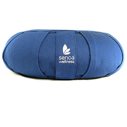 Meditation cushion - buckwheat filled organic cotton crescent meditation pillow - increased comfort while meditating - can be used as yoga pillow, bolster, zafu meditation cushion for sitting on floor