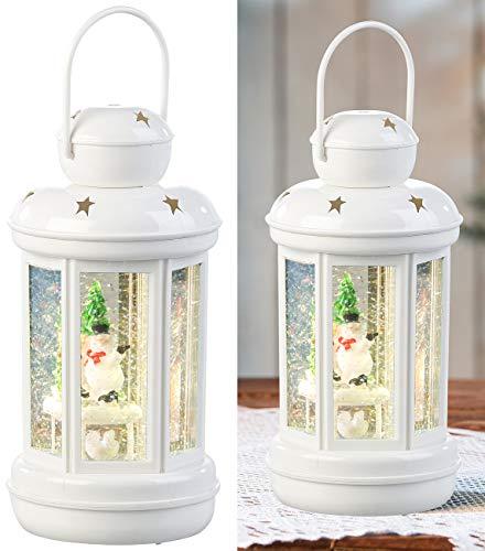 infactory Schneekugel Weihnachten: LED-Laterne mit Schneewirbel und Deko-Schneemann, warmweiß (LED Schneekugel mit Glitterwirbel)
