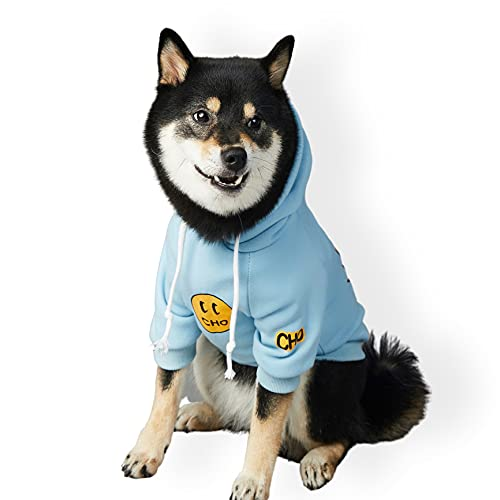 ChoChoCho Smiley Face Dog Hoodie, Smiley Face Dog Sweater, Stylish Dog Clothes, Cotton Sweatshirt for Dogs and Puppies, Fashion Outfit for Dogs Cats Puppy Small Medium Large