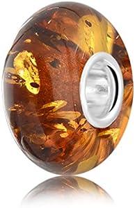 ANDANTE - PREMIUM Collection - Auténtica Ámbar del Mar Báltico Bead Charm Colgante en plata de ley 925 - Certificado - oro del Mar - Color coñac - 8 mm x 14 mm